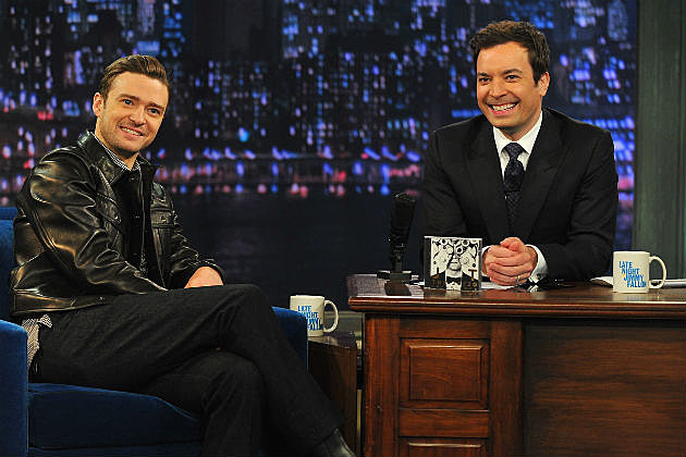 Jimmy Fallon with Justin Timberlake on Late Night