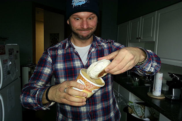 Rob is about to dip combine English muffins and ice cream