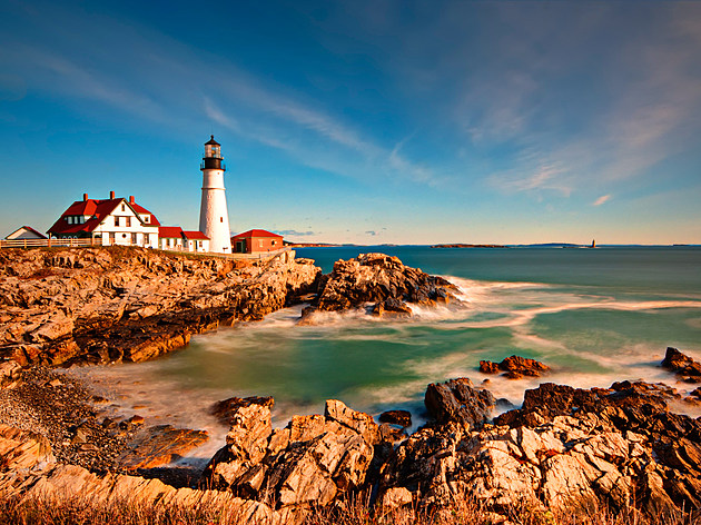 Portland Head Light in Maine at Sunrise